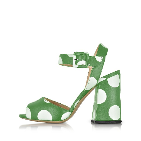 Green and White Block Heel Sandals Polka Dots Peep Toe Heels image 2