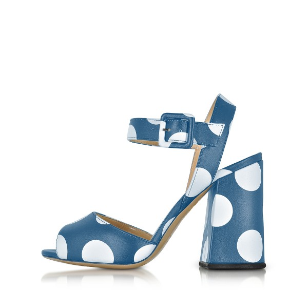 Women's Blue and White Polka Dots Chunky heel Sandals  image 2