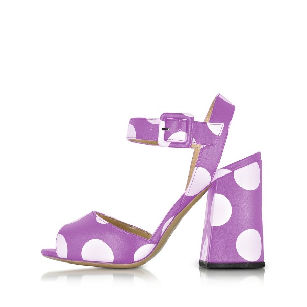 Purple Polka Dots Block Heel Sandals Peep Toe Heels image 2