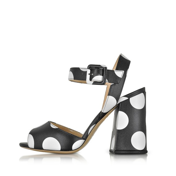 Women's Black and White Polka Dots Chunky Heel Sandals for Going ...