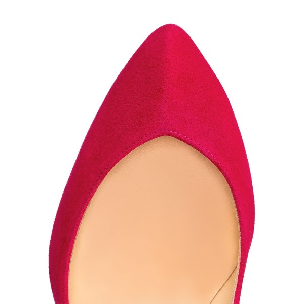 Red 4 Inch Heels Low-cut uppers Suede Stiletto Heel Pumps image 3