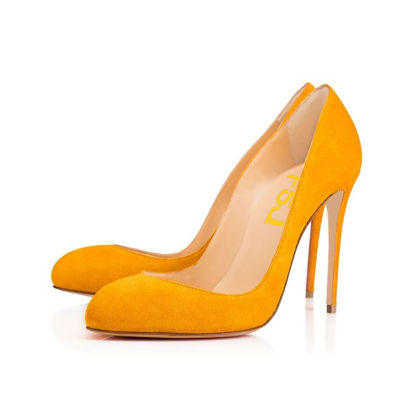 Orange 4 Inch Heels Suede Stilettos Pumps for Women image 1