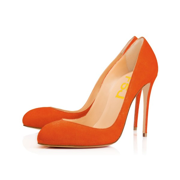 On Sale Orange Stiletto Heels Almond Toe Suede Pumps US Size 4-15 image 1