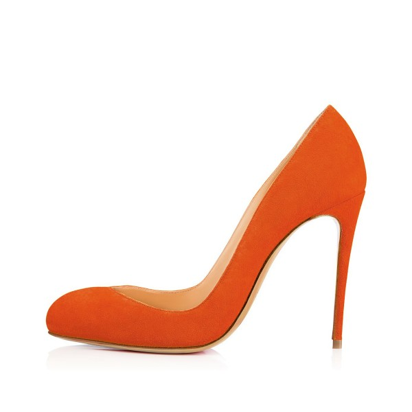 On Sale Orange Stiletto Heels Almond Toe Suede Pumps US Size 4-15 image 2
