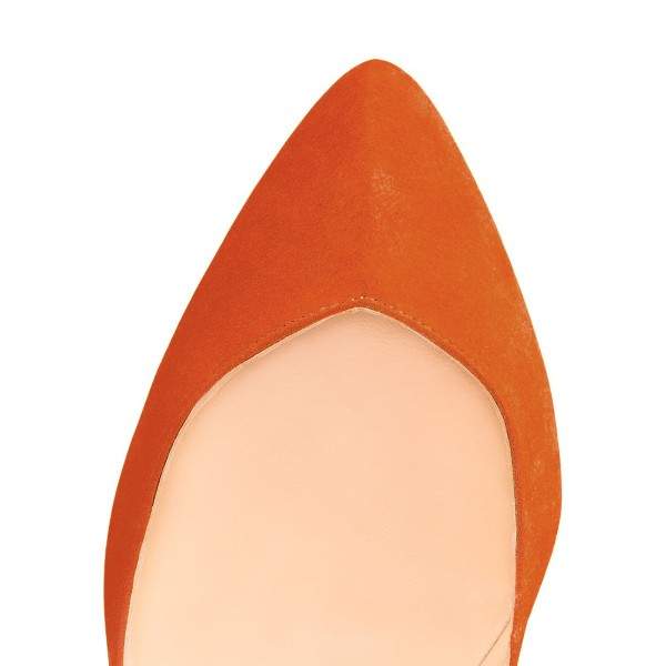 On Sale Orange Stiletto Heels Almond Toe Suede Pumps US Size 4-15 image 3