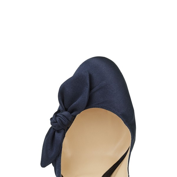 Navy Satin Bow Heels Round Toe Stiletto Heel Platform Pumps image 3