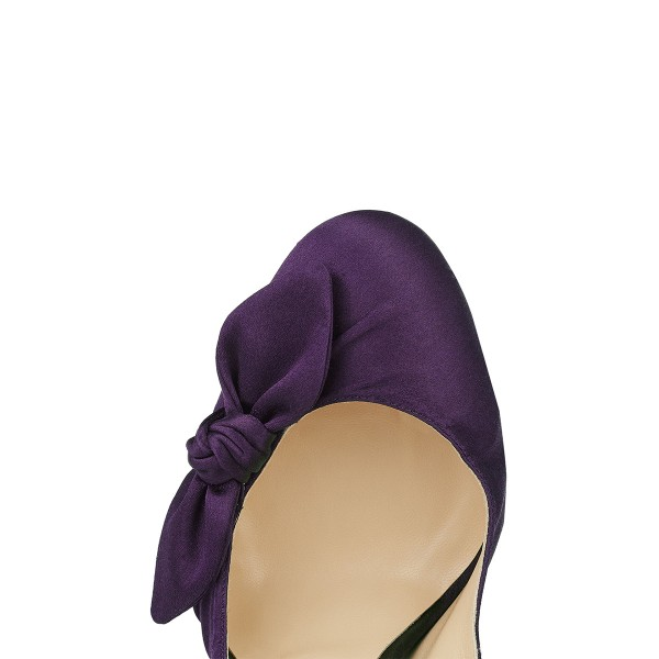 Purple Satin Bow Heels Round Toe Stiletto Heel Platform Pumps image 3
