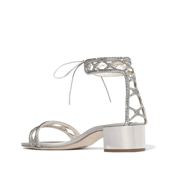 Silver Laser Cut Wedding Shoes Rhinestone Hotfix Heeled Sandals image 3