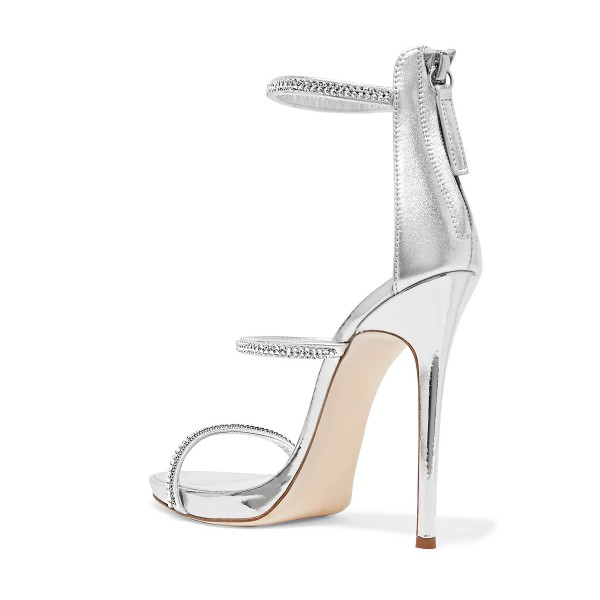Silver Metallic Evening Shoes Three-Strap Rhinestone Sandals for Prom image 2