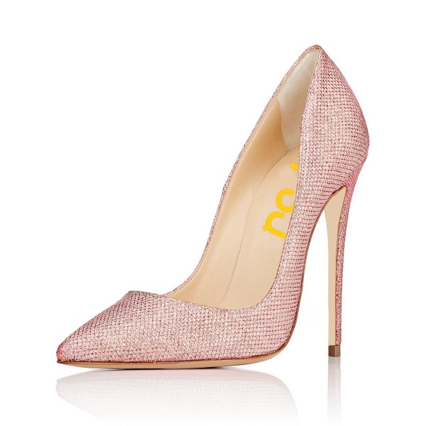Pink 4 Inch Heels Fabric Pointy Toe Ladies' Stilettos Pumps image 1
