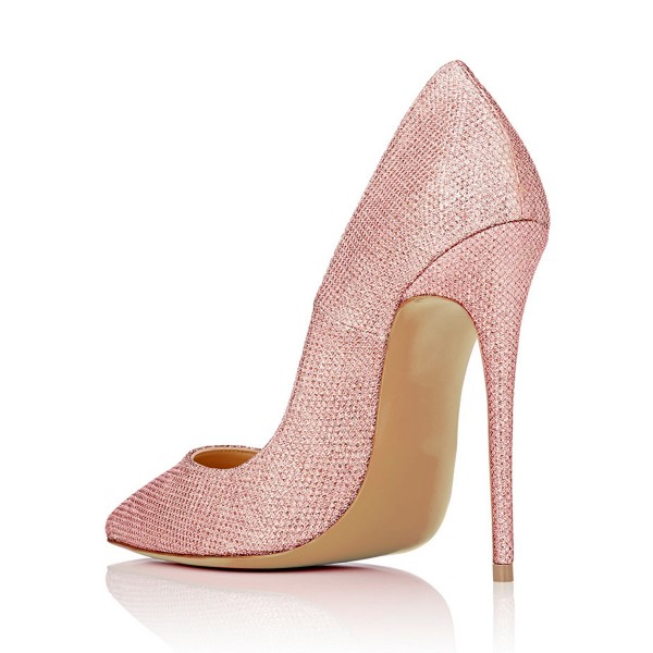 Pink 4 Inch Heels Fabric Pointy Toe Ladies' Stilettos Pumps image 3