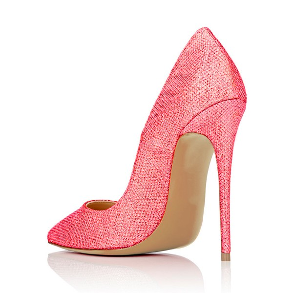 Women's Red Fibrous Commuting Stiletto Heels Pumps Shoes image 3
