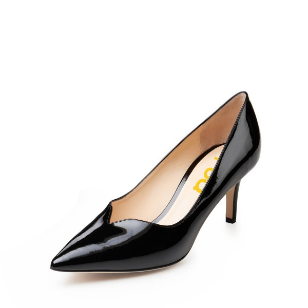 On Sale Black Patent Leather Low-Cut Uppers Stiletto Heels Pumps Shoes image 1