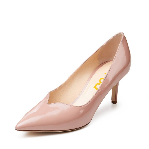 Women's Nude Commuting Low-Cut  Uppers Stiletto Heels Shoes image 1