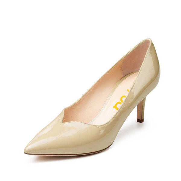 On Sale Beige Office Heels Patent Leather Pointy Toe Mid Heel Pumps image 1