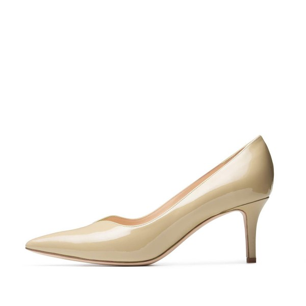 On Sale Beige Office Heels Patent Leather Pointy Toe Mid Heel Pumps image 2