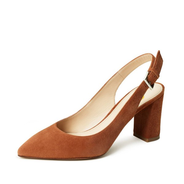 On Sale Tan Heels Suede Chunky Heel Slingback Pumps for Office Lady image 1