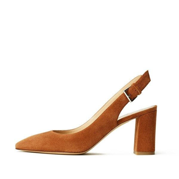 On Sale Tan Heels Suede Chunky Heel Slingback Pumps for Office Lady image 3