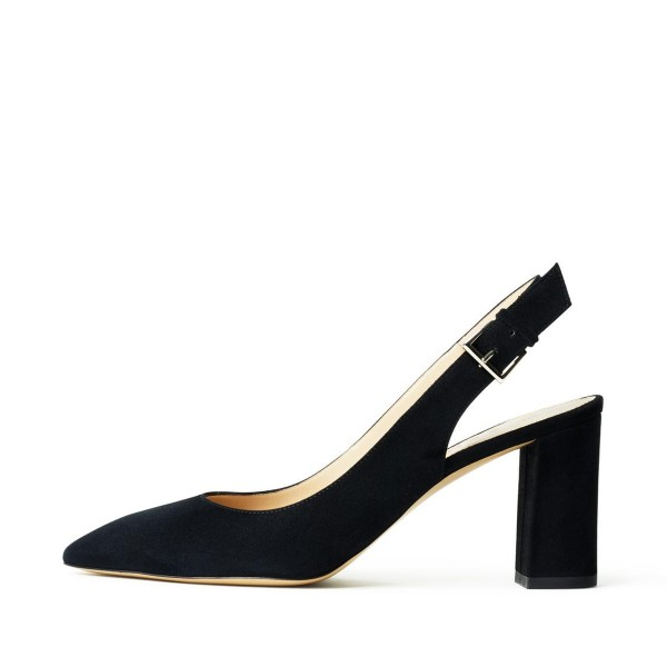 Black Suede Slingback Shoes Chunky Heels Commuting Pumps image 2