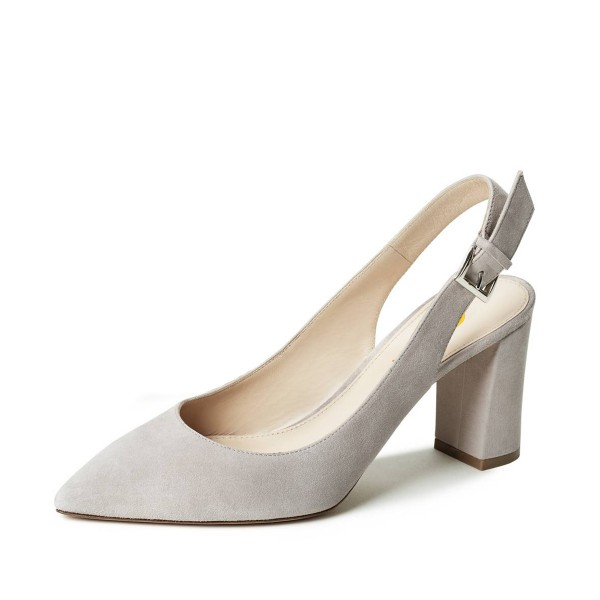 On Sale Light Grey Commuting Suede Chunky Heels Slingback Pumps Shoes image 1