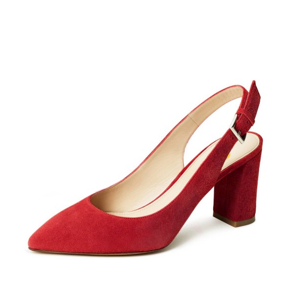 Women's Red Commuting Suede Chunky Heels Slingback Pumps by FSJ image 1