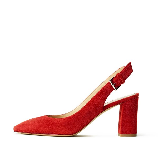 Women's Red Commuting Suede Chunky Heels Slingback Pumps by FSJ image 2