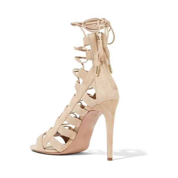 Women's Nude Open Toe Stieletto Heel Gladiator Strappy  Sandals image 2
