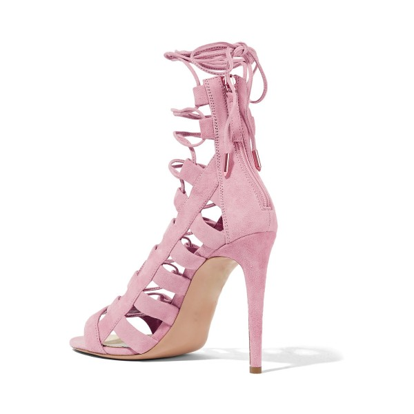 Pink Strappy Sandals Open Toe Hollow out Suede Stiletto Heels Shoes image 2