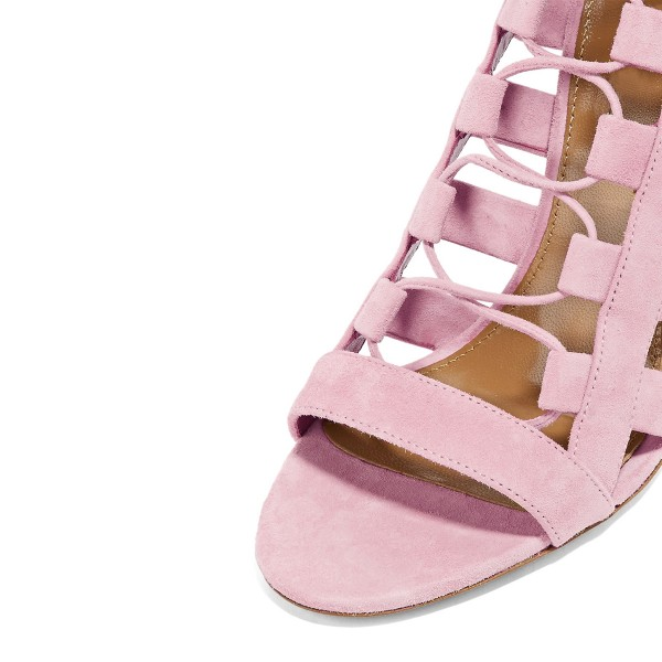 Pink Strappy Sandals Open Toe Hollow out Suede Stiletto Heels Shoes image 3