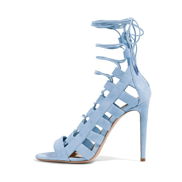 Light Blue Lace up Sandals Strappy Open Toe Suede Stiletto Heels Shoes image 1