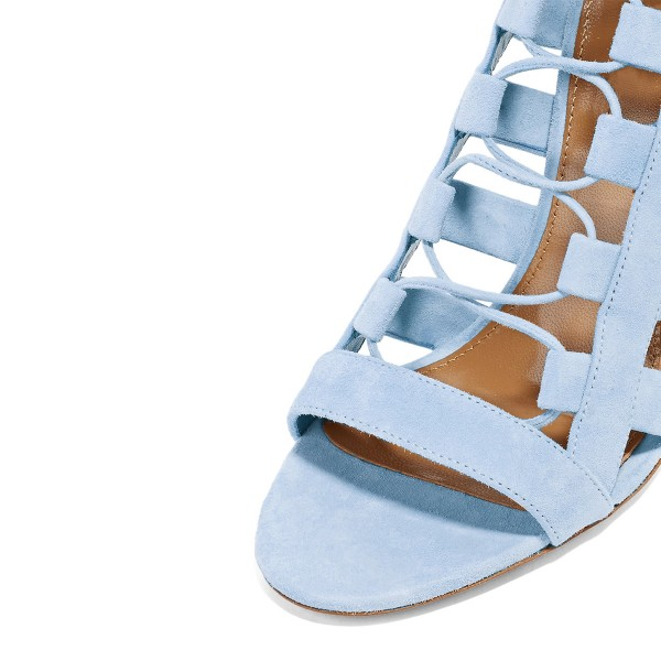 Light Blue Lace up Sandals Strappy Open Toe Suede Stiletto Heels Shoes image 3