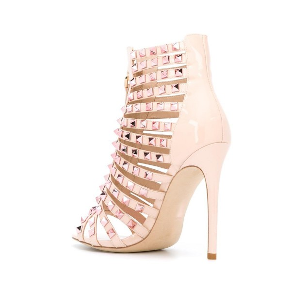 Nude Studs Shoes Open Toe Patent Leather Stiletto Heel Sandals image 2