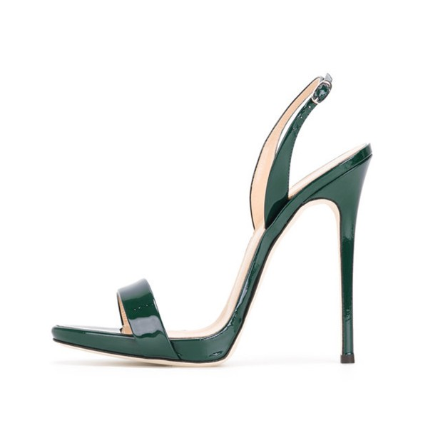 On Sale Green Patent Leather Slingback Heels Stiletto Office Sandals image 1