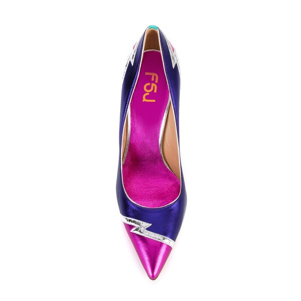 Multi-color Stiletto Heels Pointy Toe Mirror Leather Pumps for Ladies image 4