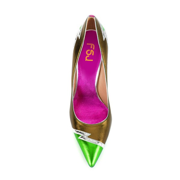 Multi-color Stiletto Heels Mirror Leather Pointy Toe Pumps image 4