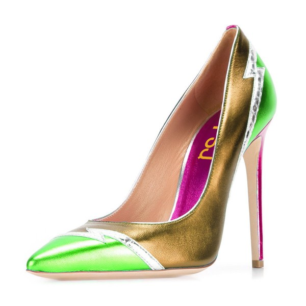 Multi-color Stiletto Heels Mirror Leather Pointy Toe Pumps image 1