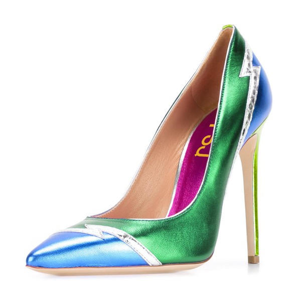 FSJ Green and Blue Stiletto Heels Pointy Toe Multicolor Pumps image 1