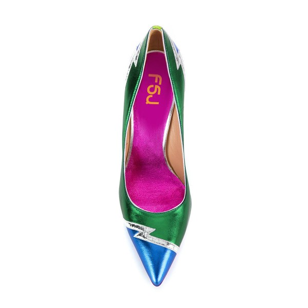 FSJ Green and Blue Stiletto Heels Pointy Toe Multicolor Pumps image 4