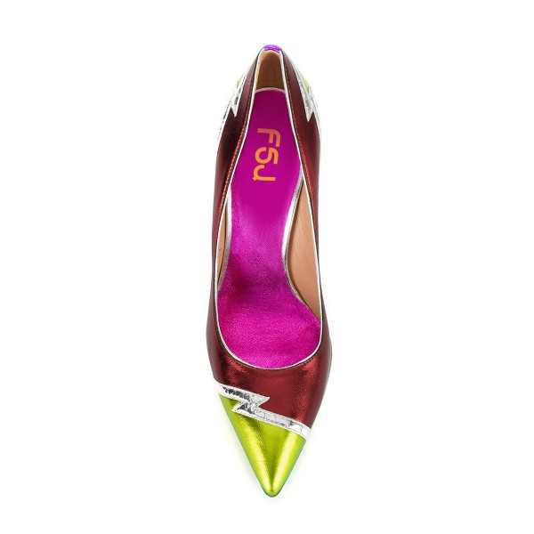 Multi-color Stiletto Heels Pointy Toe 5 Inch High Heel Pumps image 4