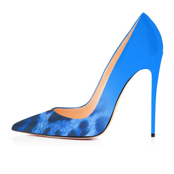 Fashion Blue Pointed Toe Leopard Print Stiletto Pencil Heel Pumps image 2