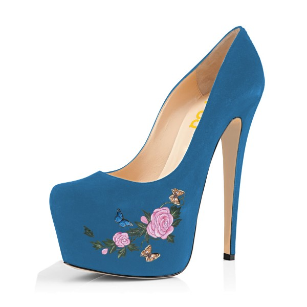 Women's Blue Suede Flora Butterfly Printed Platform Heels Stiletto Pumps image 1