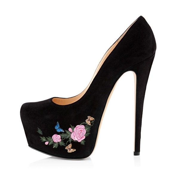 Women's Lelia Black Suede Flora Butterfly Printed Platform Heels Stiletto Pumps image 4