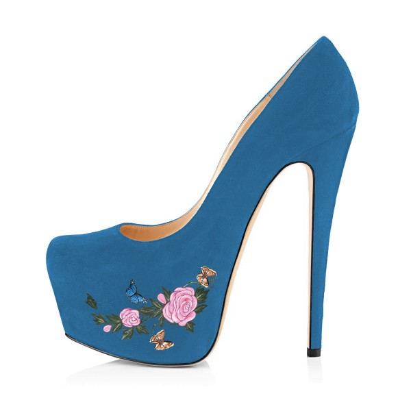 Women's Blue Suede Flora Butterfly Printed Platform Heels Stiletto Pumps image 4