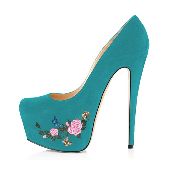 Teal Shoes Floral Print Chunky Heel Suede Platform Pumps by FSJ image 3