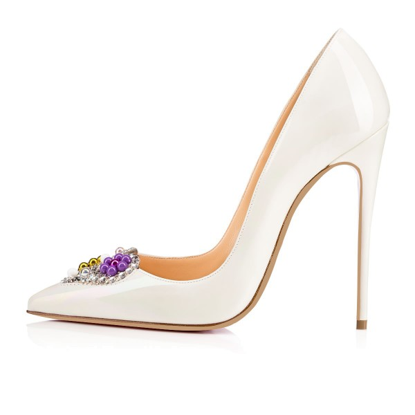 White Bridal Heels Rhinestone Heart Shaped Stilettos Pumps for Wedding image 4