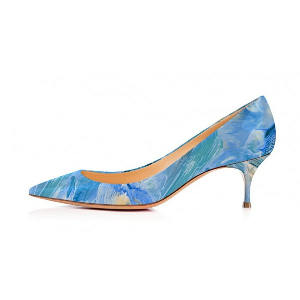 Blue Kitten Heels Landscape Print Pointy Toe Pumps image 4