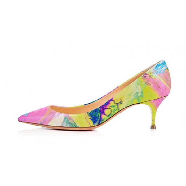 Abstract Art Kitten Heels Multi-color Pointy Toe Pumps by FSJ image 2