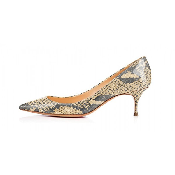 Khaki Snakeskin Kitten Heels Patent Leather Pointy Toe Pumps image 4