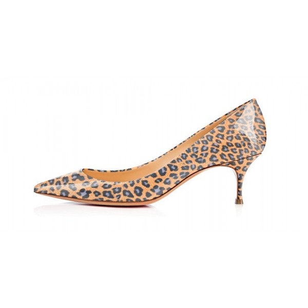 Women's Orange Crystal Kitten-heel Leopard Print Heels Pumps image 2