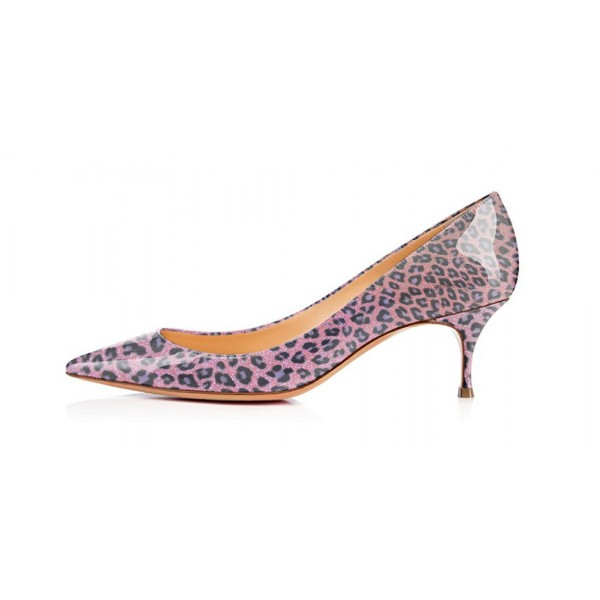 Viola Purple Leopard Print Heels Kitten Heels Pointy Toe Pumps image 3